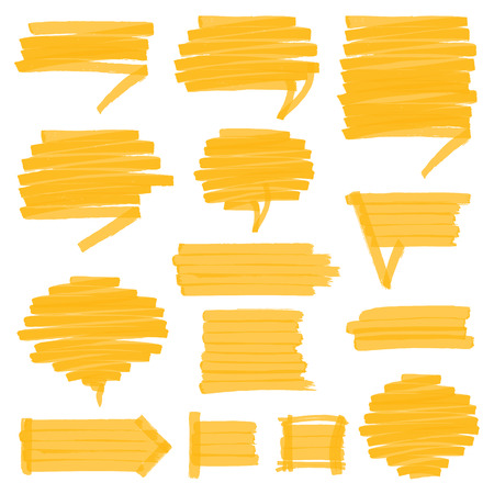 Set of hand drawn highlighter speech bubbles, marks and pointers. Can be used for text highlighting, marking or coloring in your designs. Optimized for one click color changes. EPS10 vector illustration with transparency.