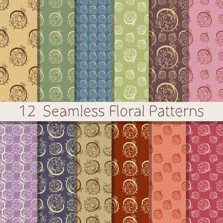 optimized: Set of 12 floral seamless patterns from hand drawn sketches. Can be used for wallpapers, backgrounds etc. Optimized for easy color changes. EPS10 vector illustration includes Pattern Swatches.