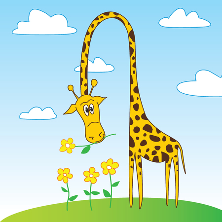 laughable: Cartoon character of funny giraffe holding a flower in mouth. EPS8 vector illustration.