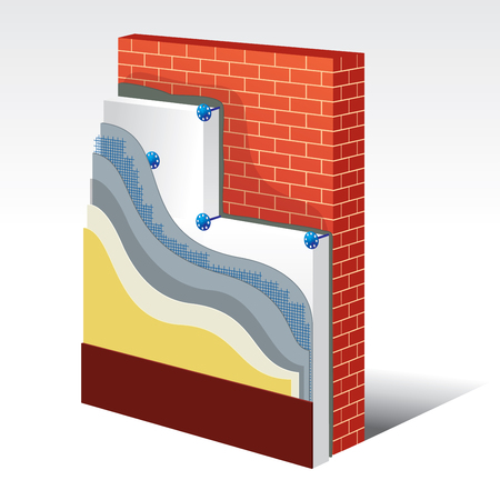 isolation: Cross-section layered scheme of a wall with polystyrene thermal isolation. All layers of exterior insulation from base to finishing. Simple colored EPS10 vector optimized for easy color changes.