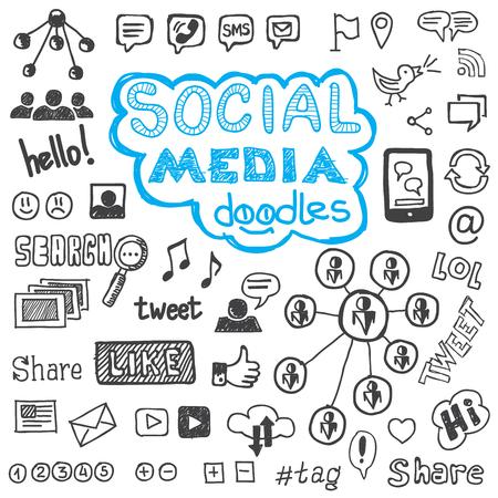 optimized: Set of hand drawn social media sign and symbol doodles elements. Optimized for one click color changes. EPS8 vector illustration.