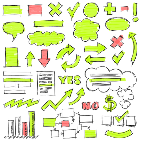 optimized: Hand drawn by pencil and highlighter business doodles. Optimized for one click color changes.
