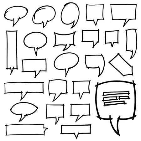 optimized: Collection of 24 hand drawn speech bubbles. Optimized for easy color changes. Illustration