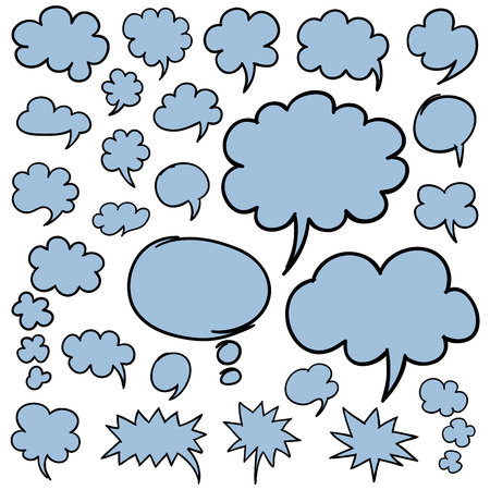 thought clouds: Set of hand drawn speech bubbles and thought clouds. Optimized for easy color changes.