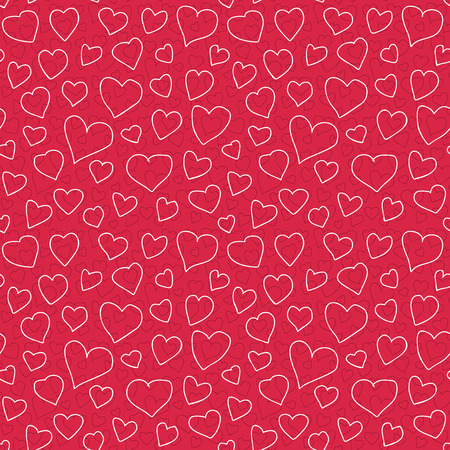 optimized: Abstract doodle hearts seamless pattern texture. Various size hand drawn white hearts on red background. Optimized for one click color changes. vector illustration includes Pattern Swatch.