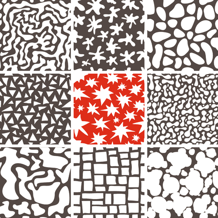 pebble: Set of 9 abstract seamless doodle patterns and textures. Can be used for wallpapers, pattern fills, web page backgrounds, textile prints etc. Optimized for easy color changes. vector illustration includes Pattern Swatches.