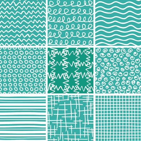optimized: Set of 9 abstract seamless doodle patterns and textures. Can be used for wallpapers, pattern fills, web page backgrounds, textile prints etc. Optimized for easy color changes. vector illustration includes Pattern Swatches.