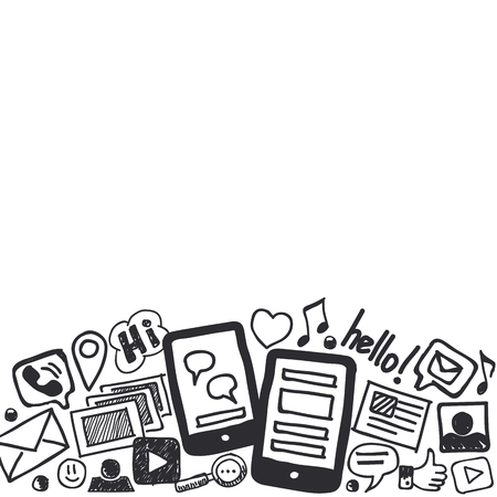 optimized: Hand drawn social media doodle background in black and white with empty space for text. Optimized for one click color changes. EPS8 vector illustration.
