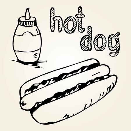 hot dog label: Hot Dog hand drawn illustration. Fast food design elements, sketch of  hotdog, sauce in a bottle and hand written label. Monochrome EPS8 vector graphics.