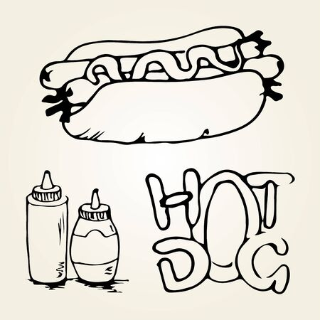 hot dog label: Double Hot Dog hand drawn illustration. Fast food design elements, sketch of double hotdog with sauces in a bottles and hand written label. Monochrome EPS8 vector graphics.