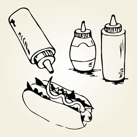 Hot Dog hand drawn illustration. Fast food design elements, sketch of hotdog with sauces in a bottles. Monochrome EPS8 vector graphics.