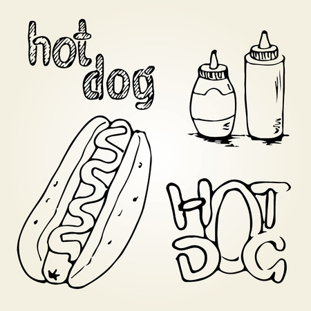 Hot Dog hand drawn illustration. Fast food design elements, sketch of  hotdog with sauces in a bottle and hand written label. Monochrome EPS8 vector graphics. Vettoriali