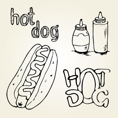 Hot Dog mano dibuja ilustración. elementos de diseño de comida rápida, boceto de perros calientes con salsas en una etiqueta de la botella y la mano escrita. Monocromo EPS8 gráficos vectoriales. Ilustración de vector