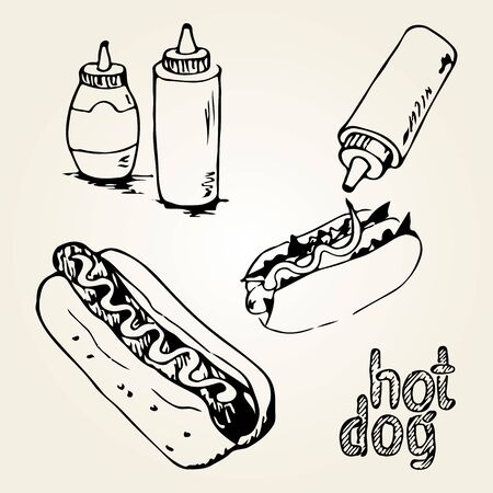 hot dog label: Hot Dog hand drawn illustration. Fast food design elements, sketch of  hotdogs with sauces in a bottles and hand written label. Monochrome EPS8 vector graphics. Illustration