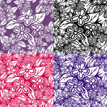 Set of 4 hand drawn floral seamless patterns. Can be used for wallpapers, pattern fills, web page backgrounds, textile prints etc. EPS8 vector illustration includes Pattern Swatches.