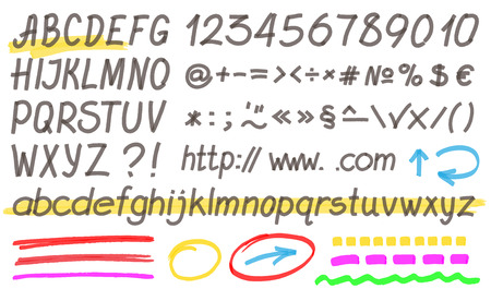 felt tip pen: Handwritten highlighter alphabet - letters, numbers and symbols. Optimized for one click color changes. Transparent colors vector.
