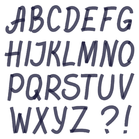 optimized: Handwritten highlighter alphabet - letters and symbols. Optimized for one click color changes. Transparent colors EPS10 vector. Illustration
