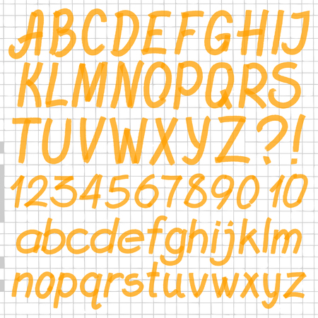optimized: Handwritten highlighter alphabet - letters, numbers and symbols. Optimized for one click color changes. Transparent colors EPS10 vector. Illustration