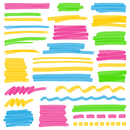 Set of hand drawn colorful highlighter stripes, strokes and marks. Can be used for text highlighting, marking or coloring in your designs. Optimized for one click color changes. Transparent colors EPS10 vector.