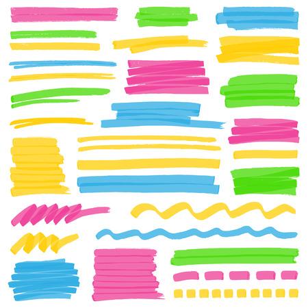 Set von Hand gezeichnet bunten Textmarker Streifen, Striche und Markierungen. Kann für Textmarkierung verwendet werden, Markieren oder in Ihren Entwürfen Färbung. Optimiert für einen Klick Farbwechsel. Transparente Farben EPS10 Vektor. Vektorgrafik