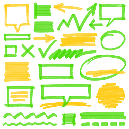 optimized: Set of hand drawn colorful highlighter design elements, marks, stripes and strokes, speech bubbles and arrows. Can be used for text highlighting, marking or coloring in your designs. Optimized for one click color changes. Transparent colors EPS10 vector.