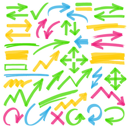 Set of hand drawn colorful highlighter arrows, pointers, arrowheads and marks. Can be used for text highlighting, marking or coloring in your graphics. Optimized for one click color changes. Transparent colors EPS10 vector. Illustration