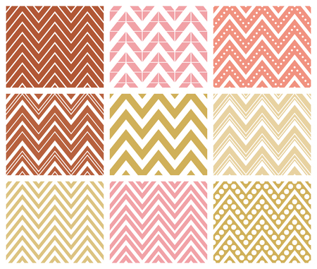 Set of 9 chevron seamless patterns with zigzags. Can be used for wallpapers, pattern fills, website backgrounds, book design, textile prints etc. EPS8 vector illustration includes Pattern Swatches.