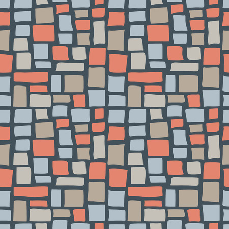 cobble: Abstract cobble tiled seamless pattern. Colorful stylized pavement stone bricks texture. EPS8 vector illustration includes Pattern Swatch.