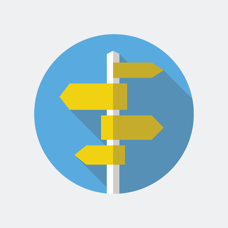 navigational: Road sign flat icon. Signpost icon in flat style. Blank template for navigational text. EPS10 clean vector illustration. Illustration