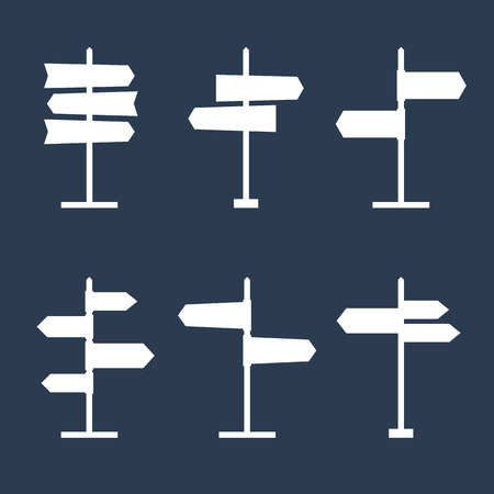 navigational: Set of 6 road signs silhouette icons. Collection of signpost shape icons. Blank templates for navigational text. EPS8 clean vector illustration.