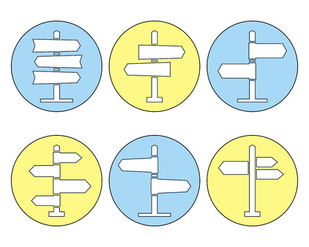 navigational: Road sign thin line icons collection. Signpost icons in outline style. Blank template for navigational text. EPS8 clean vector illustration. Illustration