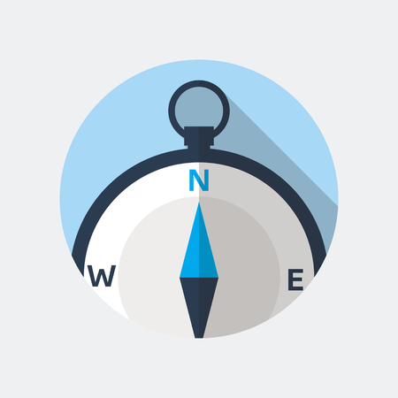 navigational: Compass flat icon. Vector icon of a navigational compass in flat style with long shadow. EPS10 clean vector illustration.