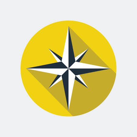 navigational: Wind rose flat icon. Vector icon of a navigational wind rose flat style with long shadow. EPS10 clean vector illustration.