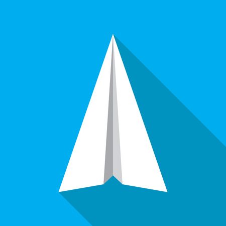 navigational: Paper plane navigational flat icon sign. Paper origami airplane symbol. Vector icon of a papercraft plane in flat style with long shadow. EPS10 vector illustration.