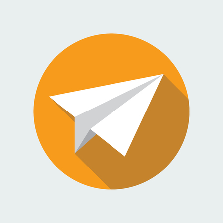 papercraft: Paper plane navigational flat icon sign. Paper origami airplane symbol. Vector icon of a papercraft plane in flat style with long shadow. EPS10 vector illustration.