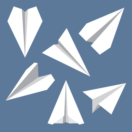 navigational: Paper plane navigational flat icons set. Collection of paper origami airplane symbols. Six vector icons of papercraft planes. EPS8 vector illustration.