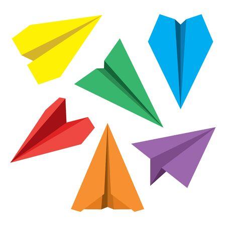 navigational: Paper plane navigational flat icons set. Illustration