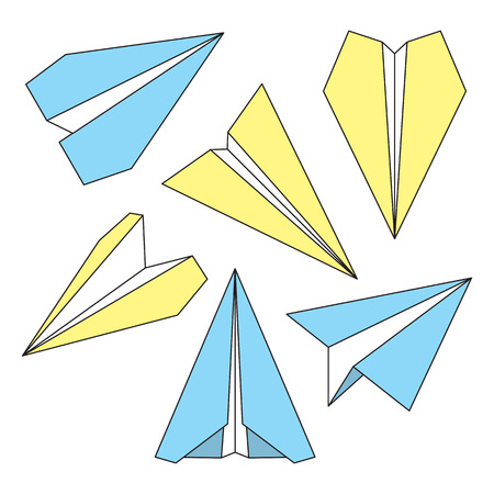 navigational: Paper plane navigational thin line icons set. Collection of paper origami airplane symbols. Six vector icons of papercraft planes. EPS8 vector illustration. Illustration