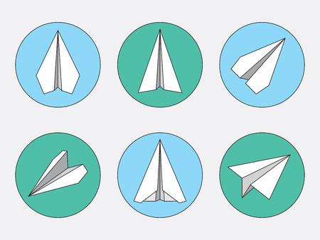 navigational: Paper plane navigational thin line icons set. Illustration