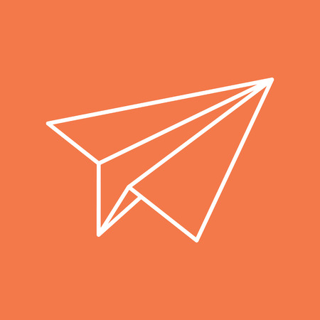 navigational: Paper plane navigational thin line icon sign. Paper origami airplane symbol. Vector icon of a papercraft plane in outline style with long shadow. EPS8 vector illustration. Illustration