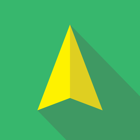 navigational: Navigation pointer flat icon sign. Navigator arrow symbol. Navigational pictogram. Vector icon of a navigation arrow in flat style with long shadow. EPS10 vector illustration.