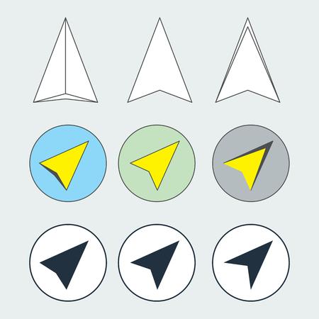 navigational: Navigation pointer flat thin line icons set. Navigator arrow symbols. Collection of navigational pictograms. Vector icons of a navigation arrows in flat and thin line styles. EPS8 vector illustration. Illustration