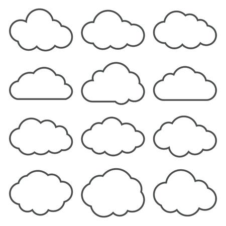 La nube forma los iconos de la línea fina fijados. Nube de símbolos. Colección de pictogramas de nubes. Vector iconos de una nubes en línea delgada estilo. EPS8 ilustración vectorial.