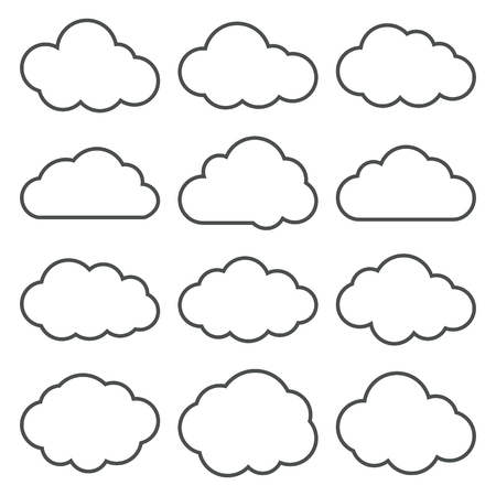Cloud shapes thin line icons set. Cloud symbols. Collection of cloud pictograms. Vector icons of a clouds in thin line style. EPS8 vector illustration. Vettoriali