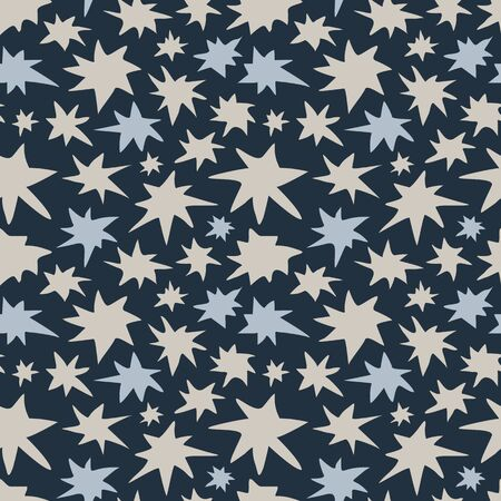 swatch: Abstract stars seamless pattern. Colorful stylized night sky stars texture. EPS8 vector illustration includes Pattern Swatch.