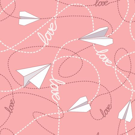 tangled: Paper planes flying on tangled lines seamless pattern.
