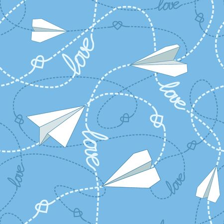 tangled: Paper planes tangled lines and hearts seamless pattern.