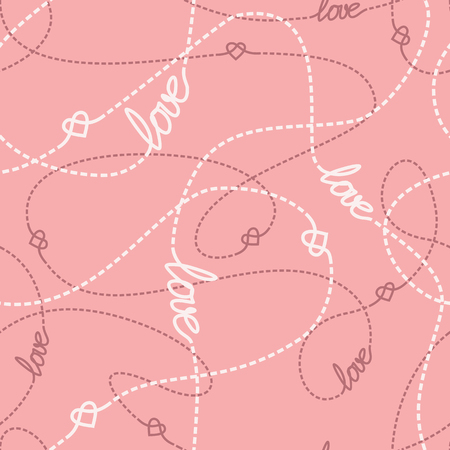 tangled: Tangled lines and hearts seamless pattern. Illustration