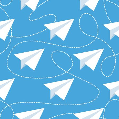 tangled: Paper planes and tangled lines seamless pattern.