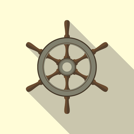 helm: Ship helm vector icon flat design.